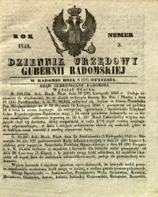 Dziennik Urzędowy Gubernii Radomskiej, 1846, nr 3