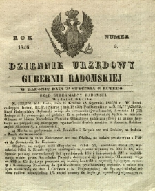 Dziennik Urzędowy Gubernii Radomskiej, 1846, nr 5