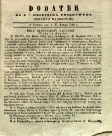 Dziennik Urzędowy Gubernii Radomskiej, 1846, nr 7, dod.