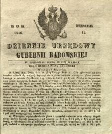 Dziennik Urzędowy Gubernii Radomskiej, 1846, nr 12