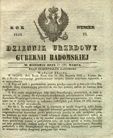 Dziennik Urzędowy Gubernii Radomskiej, 1846, nr 13