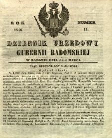 Dziennik Urzędowy Gubernii Radomskiej, 1846, nr 11
