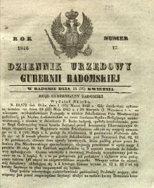 Dziennik Urzędowy Gubernii Radomskiej, 1846, nr 17