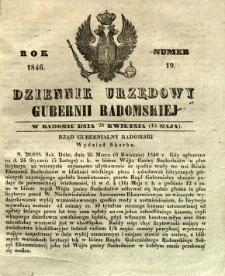 Dziennik Urzędowy Gubernii Radomskiej, 1846, nr 19