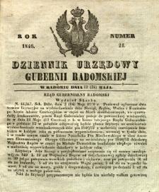 Dziennik Urzędowy Gubernii Radomskiej, 1846, nr 21