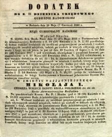 Dziennik Urzędowy Gubernii Radomskiej, 1846, nr 23, dod.
