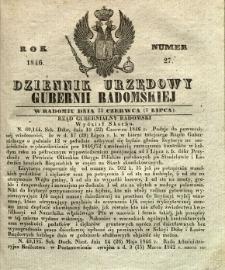 Dziennik Urzędowy Gubernii Radomskiej, 1846, nr 27