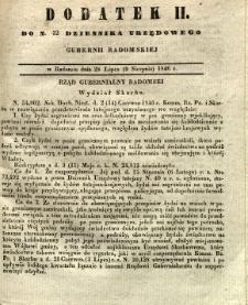 Dziennik Urzędowy Gubernii Radomskiej, 1846, nr 32, dod. II