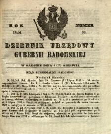 Dziennik Urzędowy Gubernii Radomskiej, 1846, nr 33