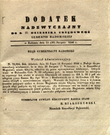 Dziennik Urzędowy Gubernii Radomskiej, 1846, nr 35, dod. nadzwyczajny