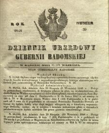 Dziennik Urzędowy Gubernii Radomskiej, 1846, nr 39