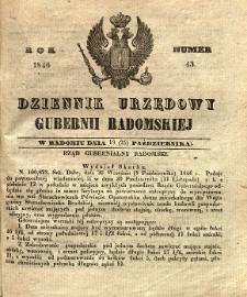 Dziennik Urzędowy Gubernii Radomskiej, 1846, nr 43