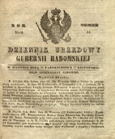 Dziennik Urzędowy Gubernii Radomskiej, 1846, nr 44