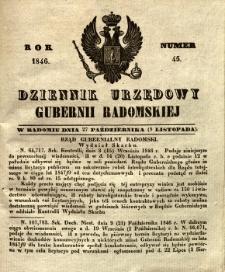 Dziennik Urzędowy Gubernii Radomskiej, 1846, nr 45