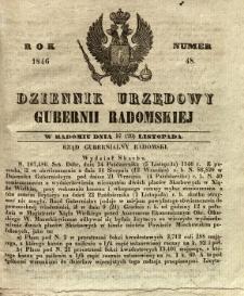 Dziennik Urzędowy Gubernii Radomskiej, 1846, nr 48