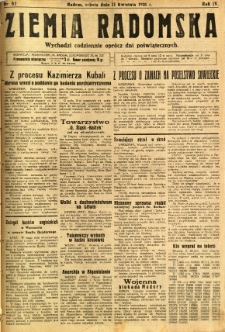 Ziemia Radomska, 1931, R. 4, nr 82