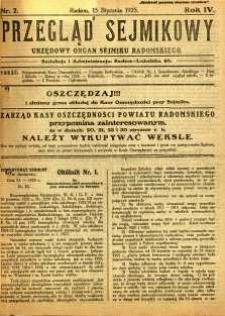Przegląd Sejmikowy : Urzędowy Organ Sejmiku Radomskiego, 1925, R. 4, nr 2
