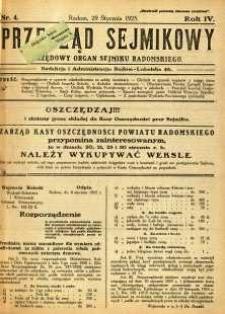 Przegląd Sejmikowy : Urzędowy Organ Sejmiku Radomskiego, 1925, R. 4, nr 4