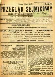 Przegląd Sejmikowy : Urzędowy Organ Sejmiku Radomskiego, 1925, R. 4, nr 5
