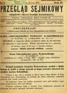 Przegląd Sejmikowy : Urzędowy Organ Sejmiku Radomskiego, 1925, R. 4, nr 6
