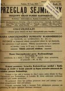 Przegląd Sejmikowy : Urzędowy Organ Sejmiku Radomskiego, 1925, R. 4, nr 7