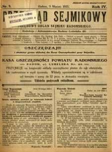 Przegląd Sejmikowy : Urzędowy Organ Sejmiku Radomskiego, 1925, R. 4, nr 9
