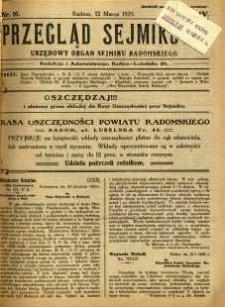 Przegląd Sejmikowy : Urzędowy Organ Sejmiku Radomskiego, 1925, R. 4, nr 10