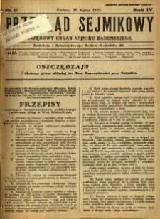 Przegląd Sejmikowy : Urzędowy Organ Sejmiku Radomskiego, 1925, R. 4, nr 12