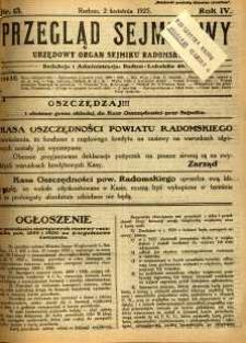 Przegląd Sejmikowy : Urzędowy Organ Sejmiku Radomskiego, 1925, R. 4, nr 13