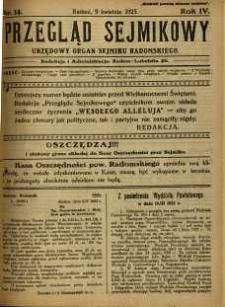 Przegląd Sejmikowy : Urzędowy Organ Sejmiku Radomskiego, 1925, R. 4, nr 14