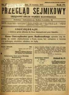 Przegląd Sejmikowy : Urzędowy Organ Sejmiku Radomskiego, 1925, R. 4, nr 15