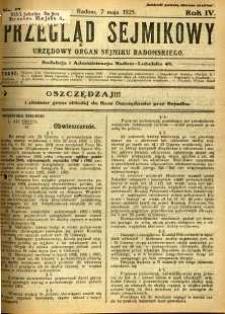 Przegląd Sejmikowy : Urzędowy Organ Sejmiku Radomskiego, 1925, R. 4, nr 17