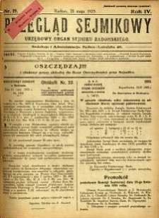 Przegląd Sejmikowy : Urzędowy Organ Sejmiku Radomskiego, 1925, R. 4, nr 19