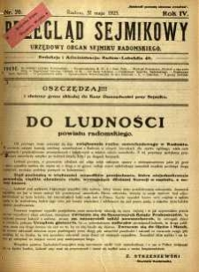 Przegląd Sejmikowy : Urzędowy Organ Sejmiku Radomskiego, 1925, R. 4, nr 20