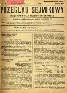 Przegląd Sejmikowy : Urzędowy Organ Sejmiku Radomskiego, 1925, R. 4, nr 21