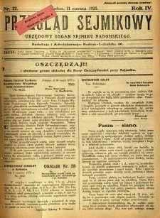 Przegląd Sejmikowy : Urzędowy Organ Sejmiku Radomskiego, 1925, R. 4, nr 22
