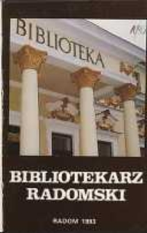 Bibliotekarz Radomski, 1993, R. 1, nr 1
