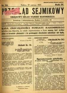 Przegląd Sejmikowy : Urzędowy Organ Sejmiku Radomskiego, 1925, R. 4, nr 24