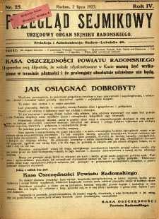 Przegląd Sejmikowy : Urzędowy Organ Sejmiku Radomskiego, 1925, R. 4, nr 25