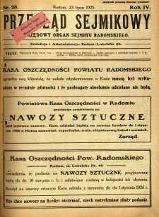 Przegląd Sejmikowy : Urzędowy Organ Sejmiku Radomskiego, 1925, R. 4, nr 28