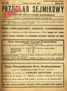 Przegląd Sejmikowy : Urzędowy Organ Sejmiku Radomskiego, 1925, R. 4, nr 29