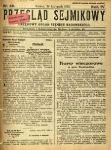 Przegląd Sejmikowy : Urzędowy Organ Sejmiku Radomskiego, 1925, R. 4, nr 46