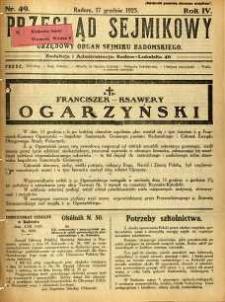 Przegląd Sejmikowy : Urzędowy Organ Sejmiku Radomskiego, 1925, R. 4, nr 49