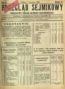 Przegląd Sejmikowy : Urzędowy Organ Sejmiku Radomskiego, 1926, R. 5, nr 1