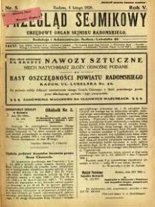 Przegląd Sejmikowy : Urzędowy Organ Sejmiku Radomskiego, 1926, R. 5, nr 5