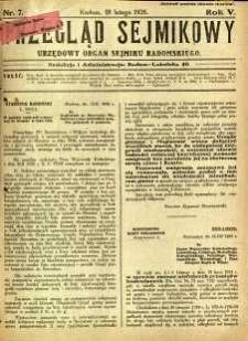 Przegląd Sejmikowy : Urzędowy Organ Sejmiku Radomskiego, 1926, R. 5, nr 7