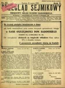 Przegląd Sejmikowy : Urzędowy Organ Sejmiku Radomskiego, 1926, R. 5, nr 10