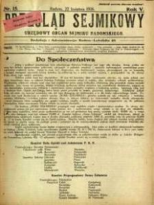 Przegląd Sejmikowy : Urzędowy Organ Sejmiku Radomskiego, 1926, R. 5, nr 15
