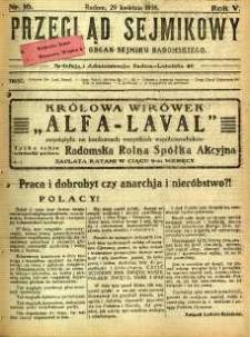 Przegląd Sejmikowy : Urzędowy Organ Sejmiku Radomskiego, 1926, R. 5, nr 16