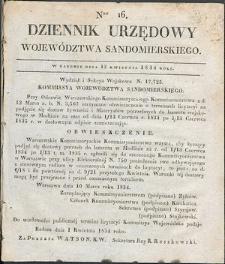 Dziennik Urzędowy Województwa Sandomierskiego, 1834, nr 16